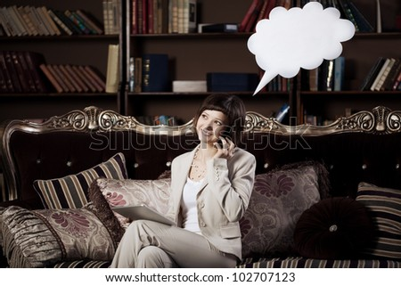 Business woman with blank of thought and speech / talking  bubble - stock photo