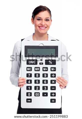Business woman with calculator isolated white background - stock photo