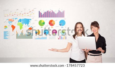 Business woman with colorful graphs and charts concepts - stock photo