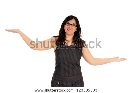 Business woman with empty hands / Business woman - stock photo