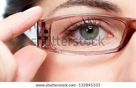 Business woman with eyeglasses  isolated on white background - stock photo