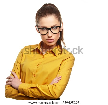 Business woman with glasses on isolatd background - stock photo