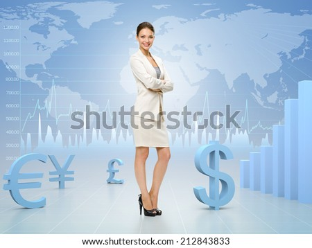 Business woman with hands crossed on currency exchange background. Concept of leadership and success on stock exchange. - stock photo