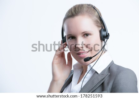 business woman with headset - stock photo