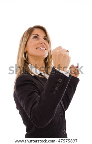Business woman with her arms outstretched celebrating something - stock photo