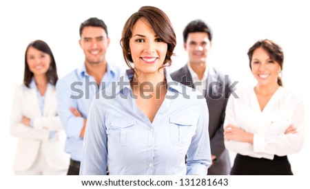 Business woman with her team looking happy - isolated over white - stock photo