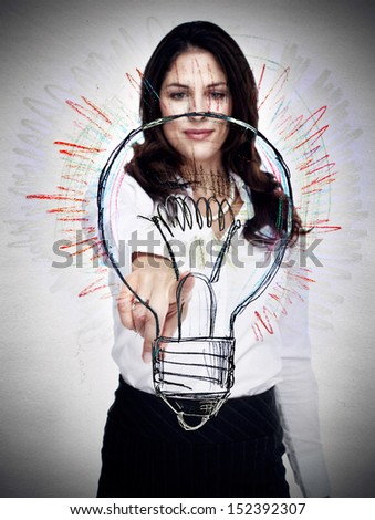 Business woman with lightbulb. Idea concept background. - stock photo