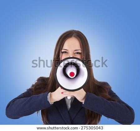business woman with megaphone - stock photo