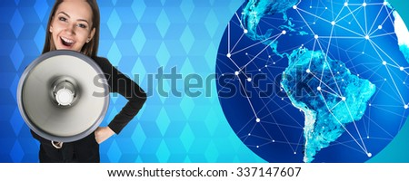 Business woman with megaphone stands near big earth ball on the blue backgrounds. Elements of this image furnished by NASA - stock photo