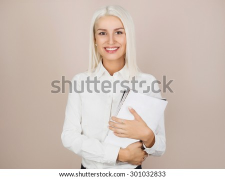 business woman with notebook. sexy teacher. smiling student girl - stock photo
