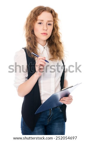 Business woman with pen and tablet for notes. Isolated on a white background - stock photo