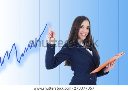 business woman with positive chart - stock photo