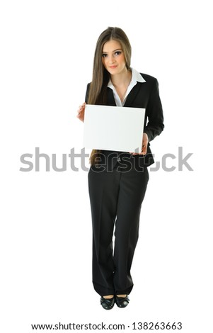 Business Woman with Small Blank Card with Copy Space (full view) - stock photo