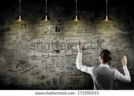 business woman with strategy on the wall   - stock photo
