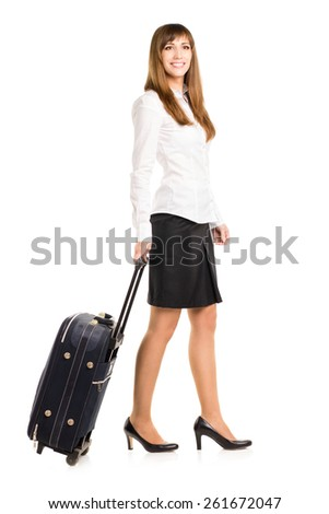 Business woman with travel bag isolated on white background.  - stock photo