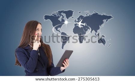 business woman with travel map - stock photo
