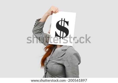 Business woman with white board and US dollar sign,money concept  - stock photo