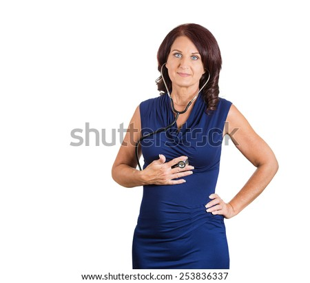 business woman, worker listening heart with stethoscope isolated on white background. Self diagnosis concept  - stock photo