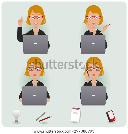 Business woman working. A businesswoman at work sitting on her desk and working on her laptop. Vector version also available in my gallery. - stock photo