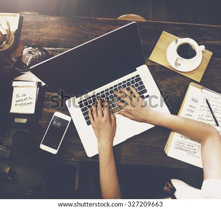 Business Woman Working Planning Ideas Concept - stock photo