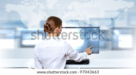 Business woman working with virtual digital screens - stock photo