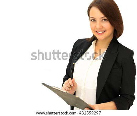 Business woman write on clipboard - stock photo
