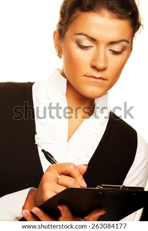 Business woman write on clipboard. Isolated on white. - stock photo