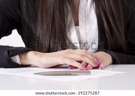 Business woman writing - stock photo