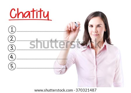 Business woman writing blank Charity list. Isolated on white.  - stock photo