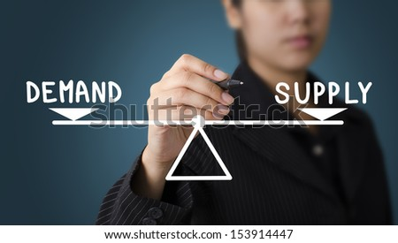 Business Woman Writing Demand and Supply Diagram Concept - stock photo