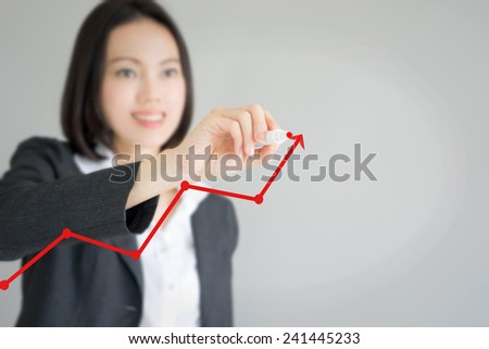 business woman writing over...  - stock photo