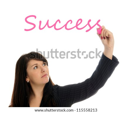 Business Woman writing the word Success / Business Woman - stock photo