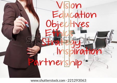 business woman writing word success highlighted  on virtual screen at conference room in modern office interior  - stock photo