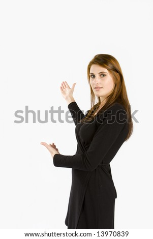 Business women against white background presenting - stock photo