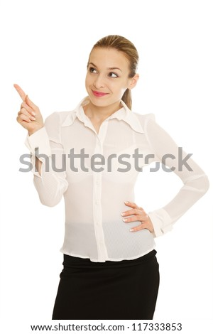 Business women giving a thumbs Up - stock photo