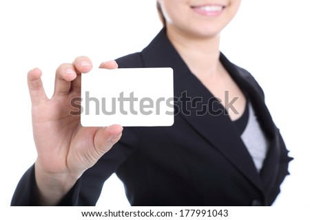 Business women holding name card for show her presentation - stock photo