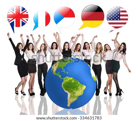 Business women near big earth and flag bubbles.Elements of this image furnished by NASA - stock photo