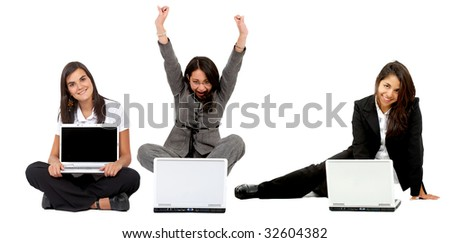 business women on the floor with a laptop computer isolated - stock photo