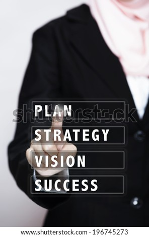 """business women touch on virtual interface """"PLAN,STRATEGY,VISION,SUCCESS"""" - stock photo"""