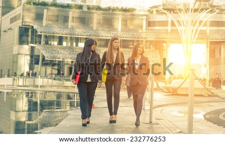 business women walking together during a break.concept about finance and business - stock photo