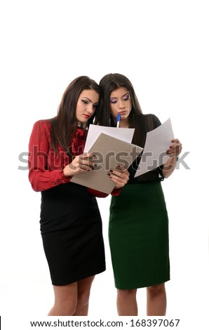 Business women working together, teamwork concept - stock photo