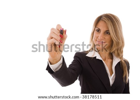 Business women writing something with a pink marker - stock photo