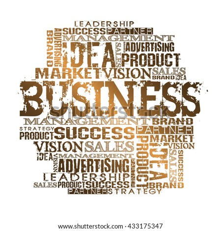 Business Word Cloud Concept Gold Style - stock photo
