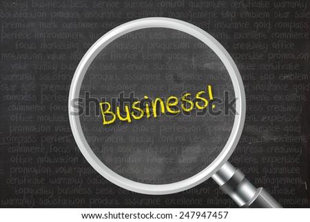 Business! words on blackboard background - stock photo