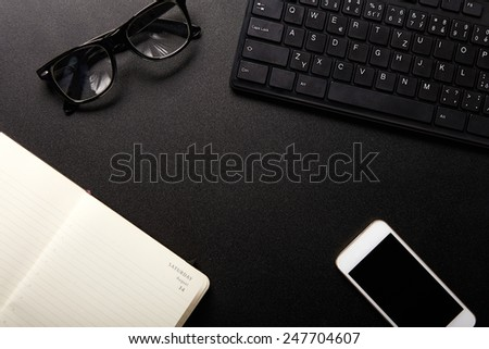 Business work place with equipment, top view - stock photo