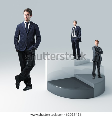 business work team and 3d pie chart - stock photo