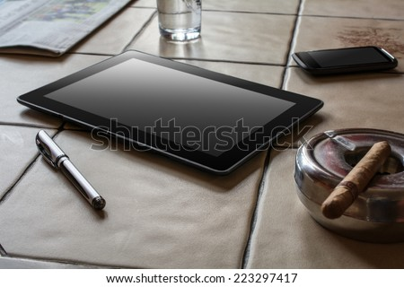 Business Work With Tablet, Smartphone And Cigar - stock photo