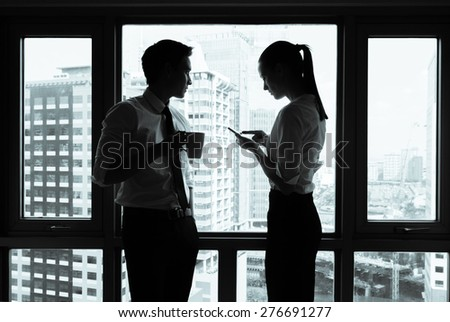 Business workers communicating. - stock photo