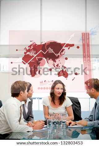Business workers using red map diagram interface in a meeting - stock photo