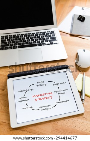 Business working desk with tablet showing marketing Strategy concept - stock photo